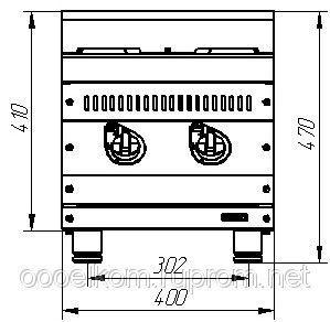 Плита газовая кухонная 2-х горелочная Пгк-27н нерж.